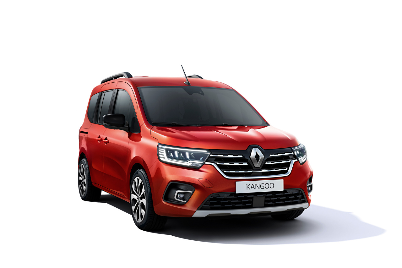 Desktop Wallpapers Renault Kangoo, 2021 Minivan Red Cars Metallic White background auto automobile