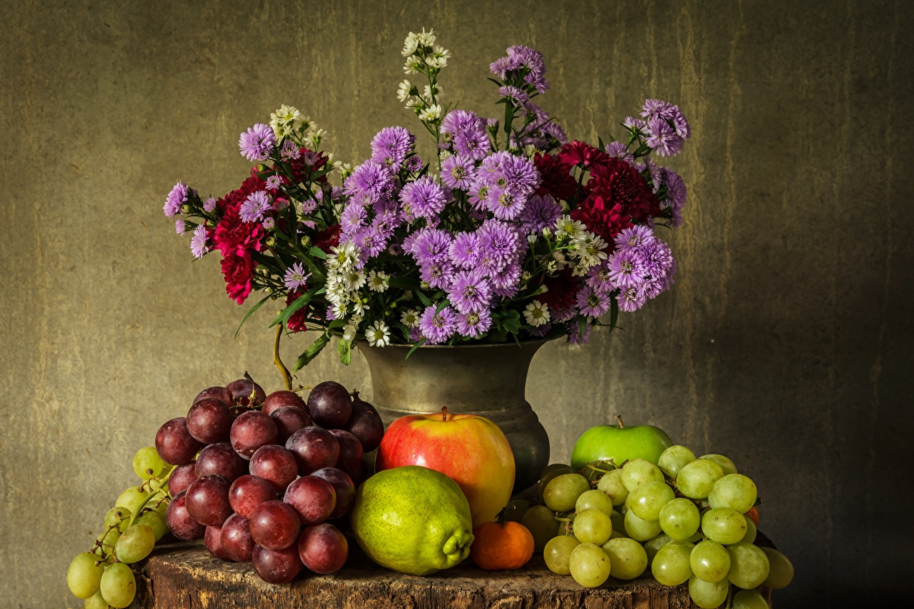 Picture Grapes Vase Food Still-life