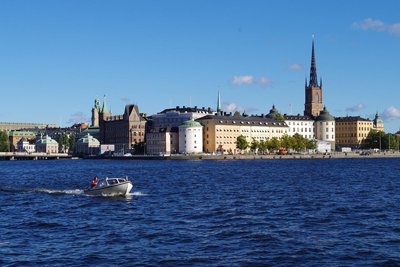 Fotos von Stockholm Schweden Motorboot Städte Gebäude Haus