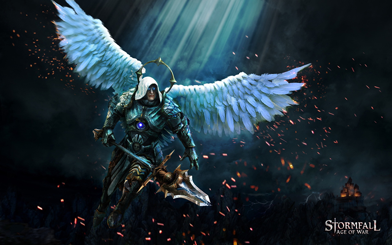Wallpaper Stormfall: Age of War Spear armour Fantasy angel vdeo game