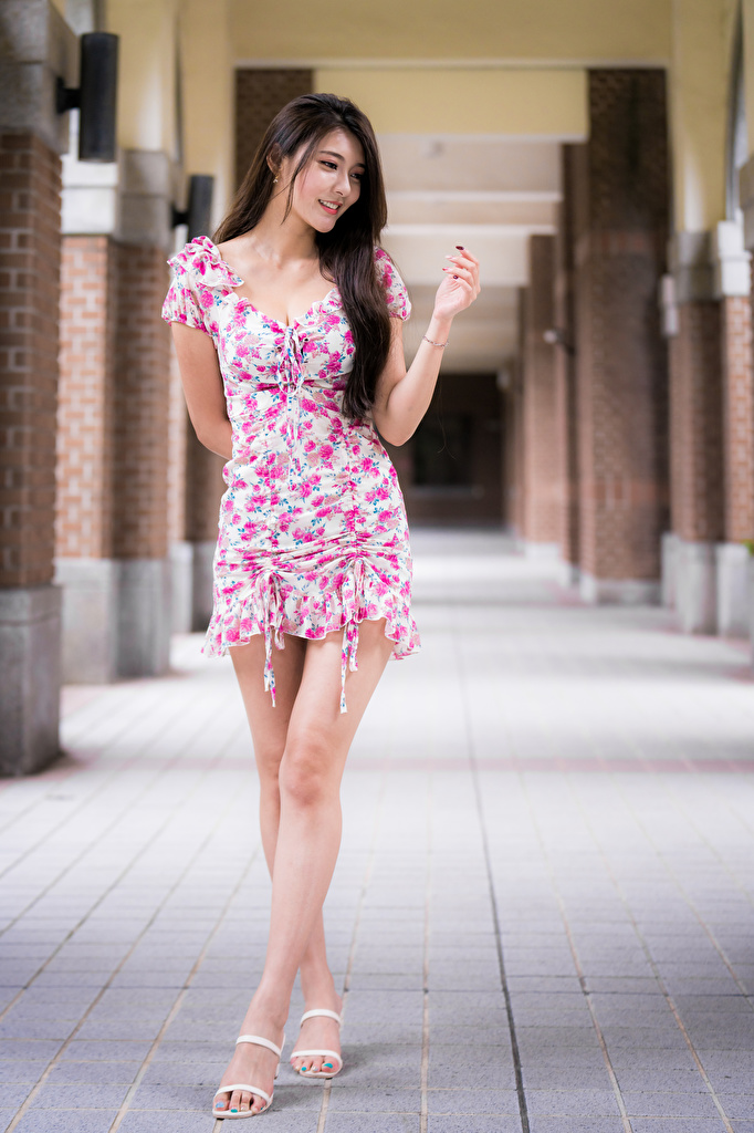 Bilder på skrivbordet Leende poserar Unga kvinnor Ben Asiater Klänning  till Mobilen Pose ung kvinna asiatisk