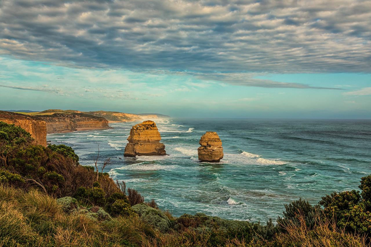 Desktop Wallpapers Australia Princetown Rock Nature Coast Clouds Crag Cliff