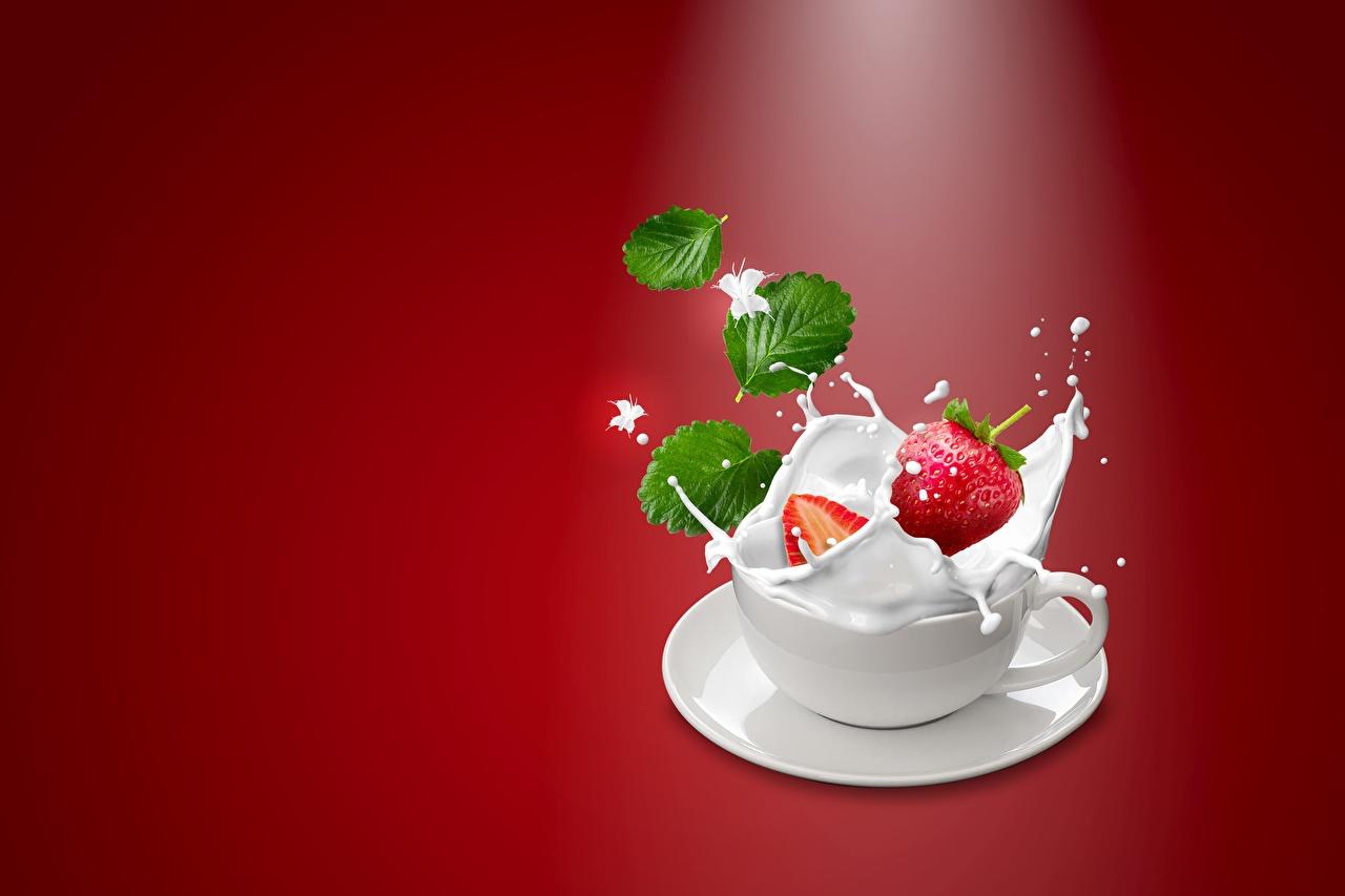 Photo Milk Strawberry Water splash Cup Food Berry