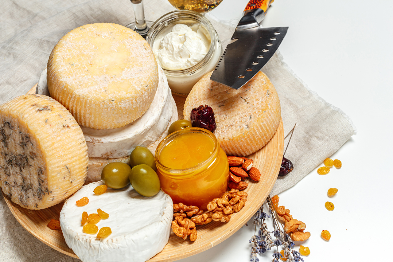Wallpapers Honey Olive Cheese Food Cutting board Nuts