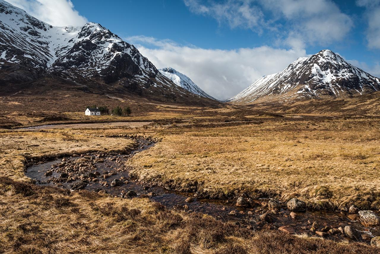 Fotos Schottland Ben Nevis and Glencoe nature reserve Berg Natur Bäche Grünland Steine Bach Gebirge Stein