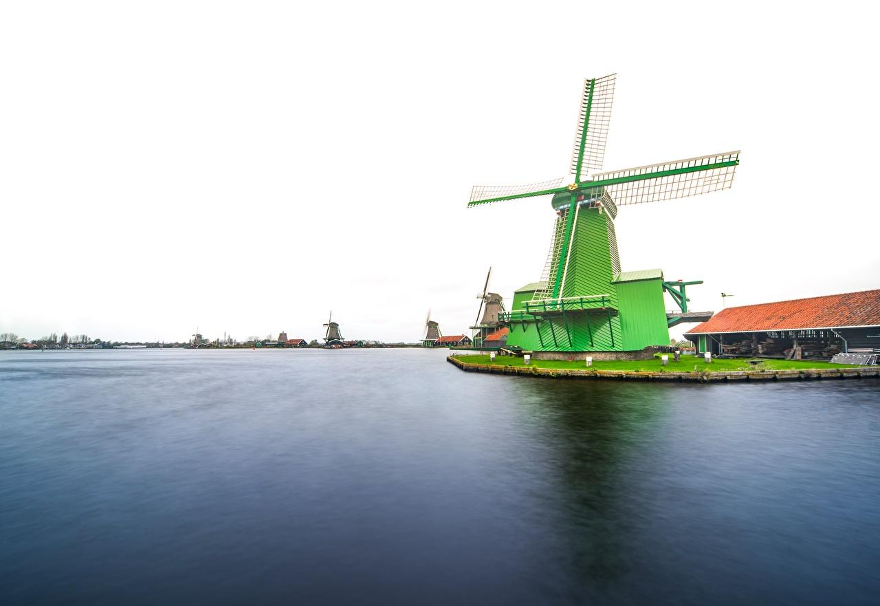 Wallpaper Netherlands windmills Zaanse Schans Cities Mill windmill