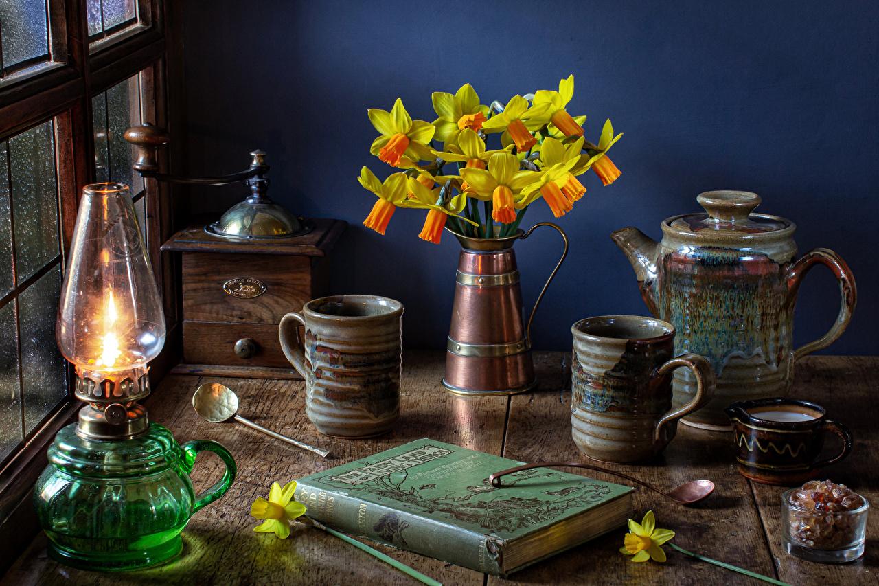 Bilder von Petroleumlampe Blumen Narzissen Pfeifkessel Vase Buch Becher Stillleben Blüte Wasserkessel Flötenkessel Bücher