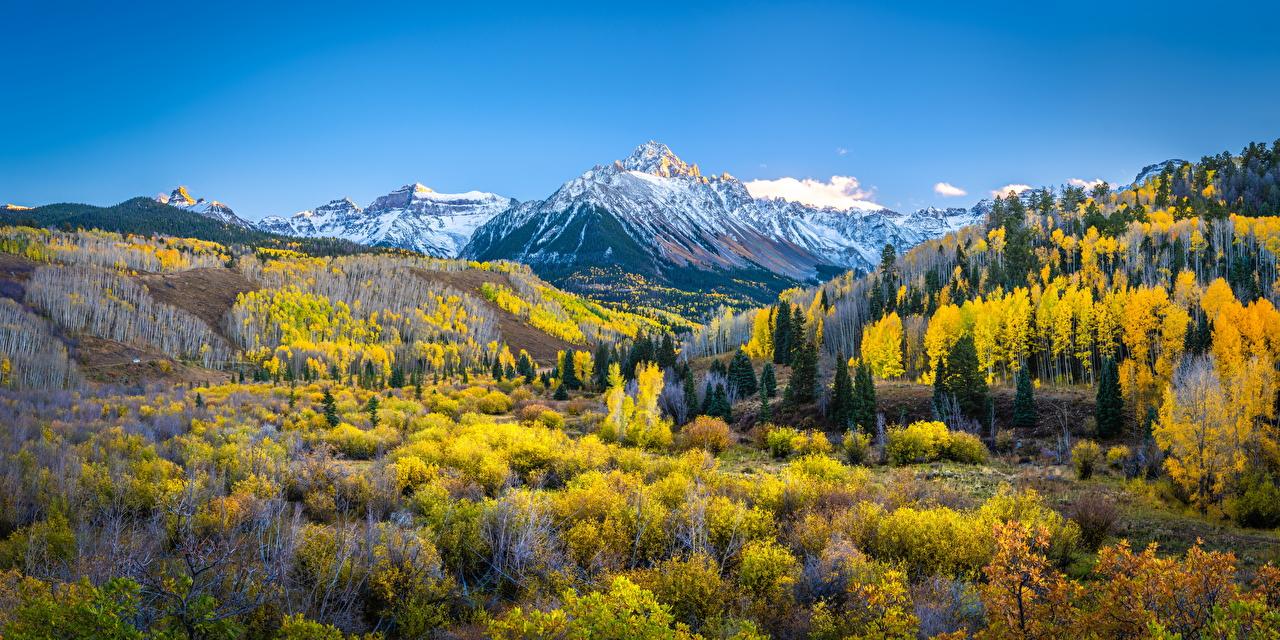Bilder Vereinigte Staaten Panorama Mount Sneffels Berg Natur Herbst Landschaftsfotografie USA Panoramafotografie Gebirge