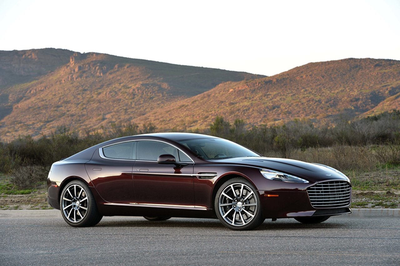 Desktop Wallpapers Aston Martin Rapide S, 2019-2020 Coupe dark red Side Cars Metallic maroon burgundy Wine color auto automobile