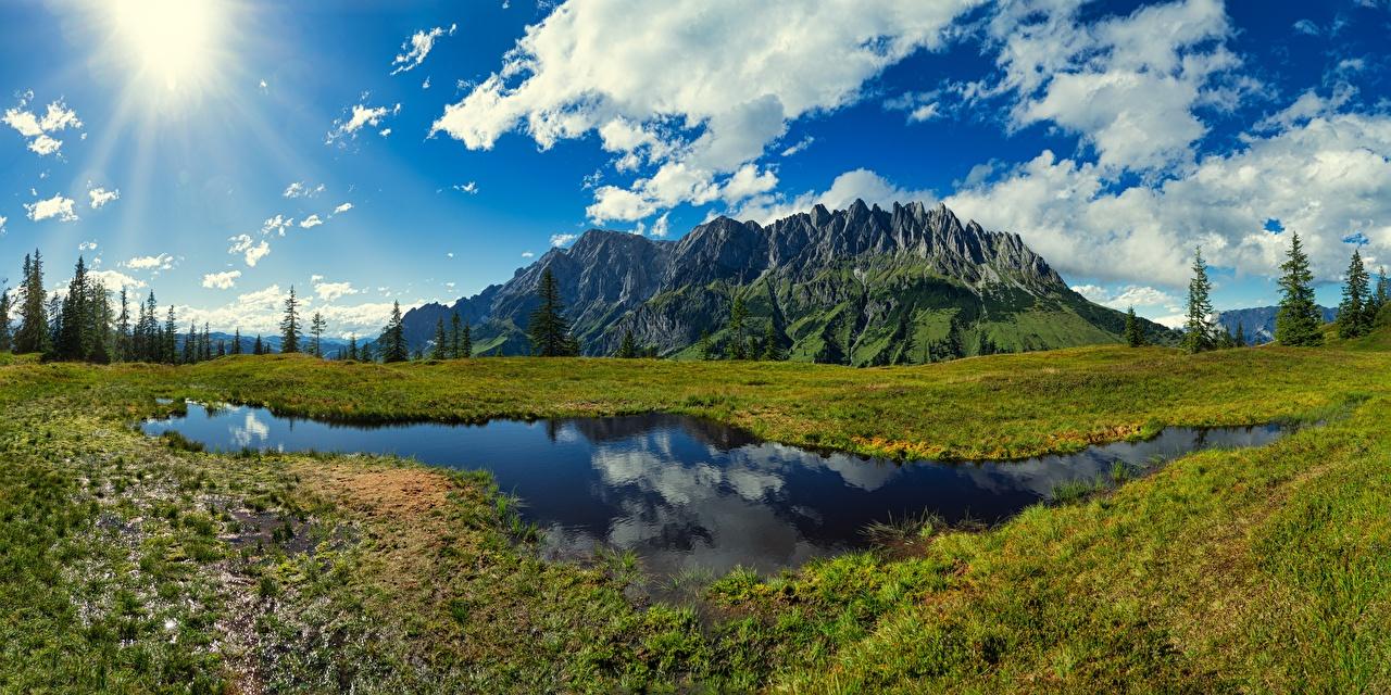 Afbeelding Alpen Oostenrijk Bergen Natuur Een meer Grasland Landschap van berg