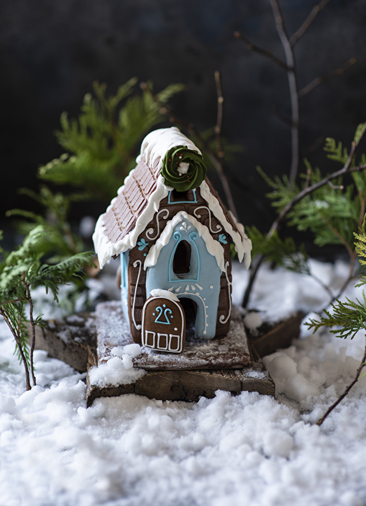 Picture New year Gingerbread house Snow Food baking Houses Design  for Mobile phone Christmas Pastry Building