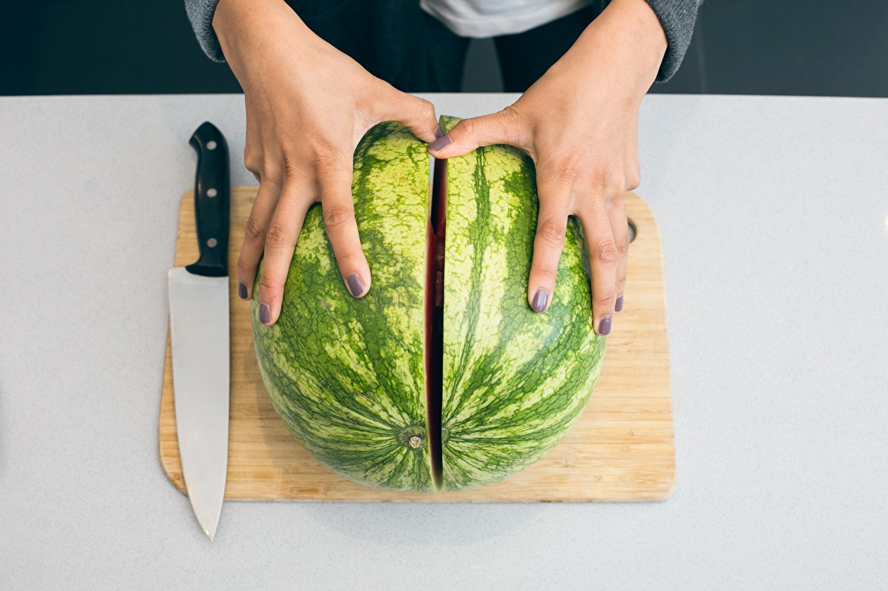 Wallpapers Manicure Knife Watermelons Food Hands Fingers Cutting board