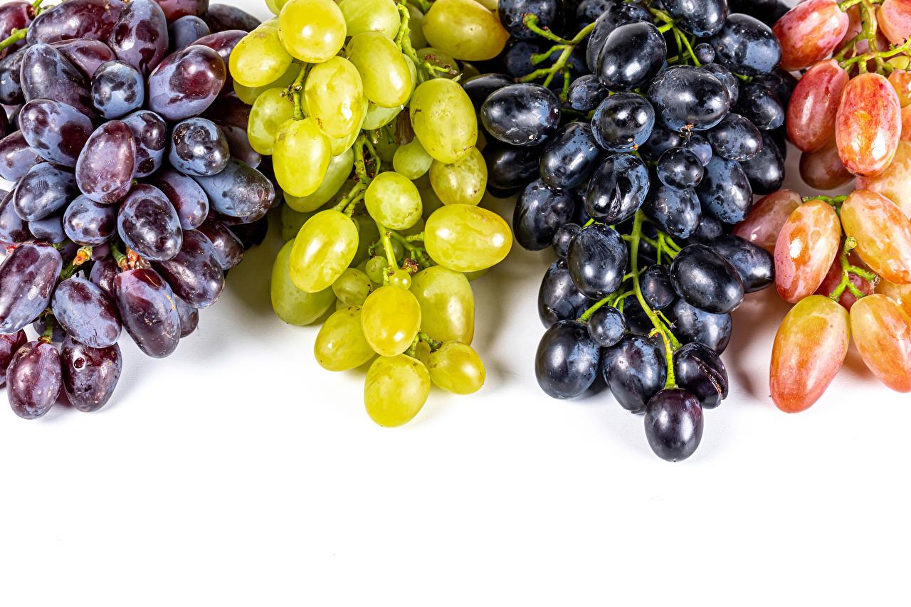Desktop Wallpapers Multicolor Grapes Food Closeup White background