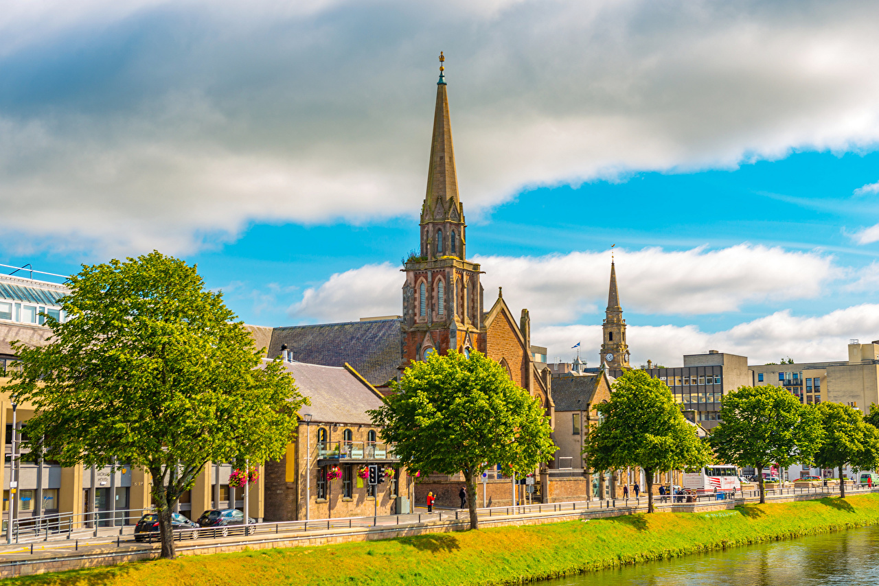 Desktop Wallpapers Church Scotland Inverness Waterfront Trees Cities Building Houses