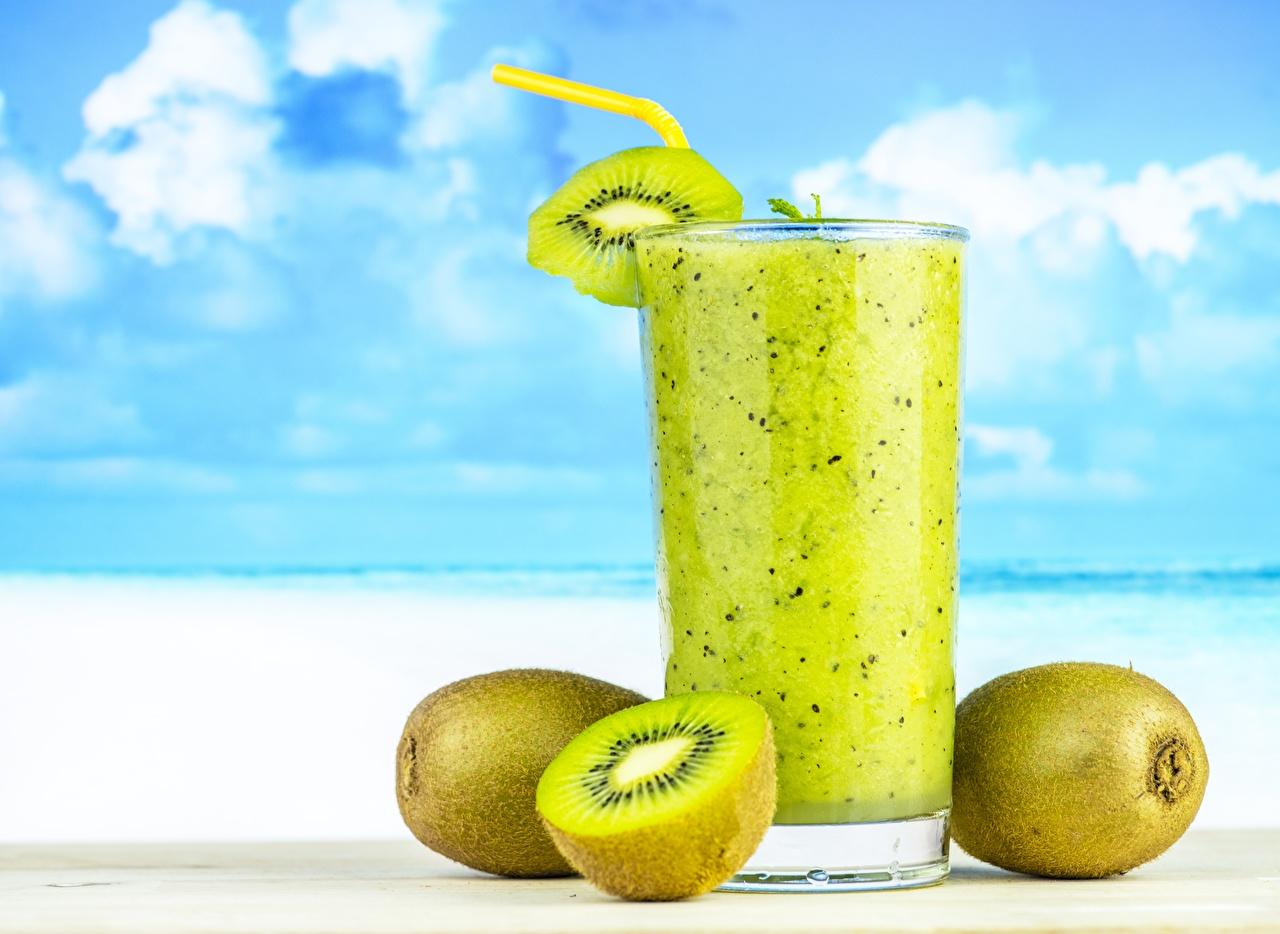 Images Smoothie Highball glass Chinese gooseberry Food smoothy Kiwi Kiwifruit