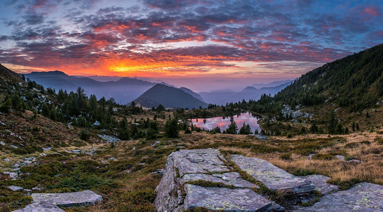 Photo Nature panoramic Switzerland Ticino Alps mountain Lake sunrise and sunset landscape photography Panorama Mountains Scenery Sunrises and sunsets