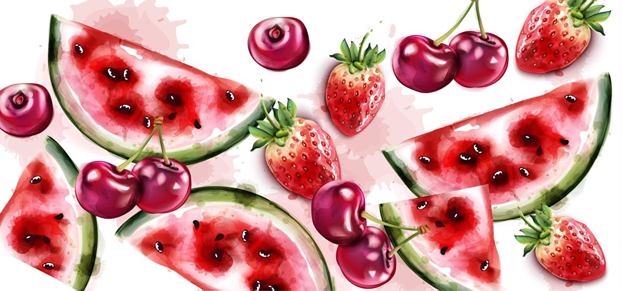 Desktop Hintergrundbilder Kirsche Erdbeeren Wassermelonen das Essen Gezeichnet Lebensmittel