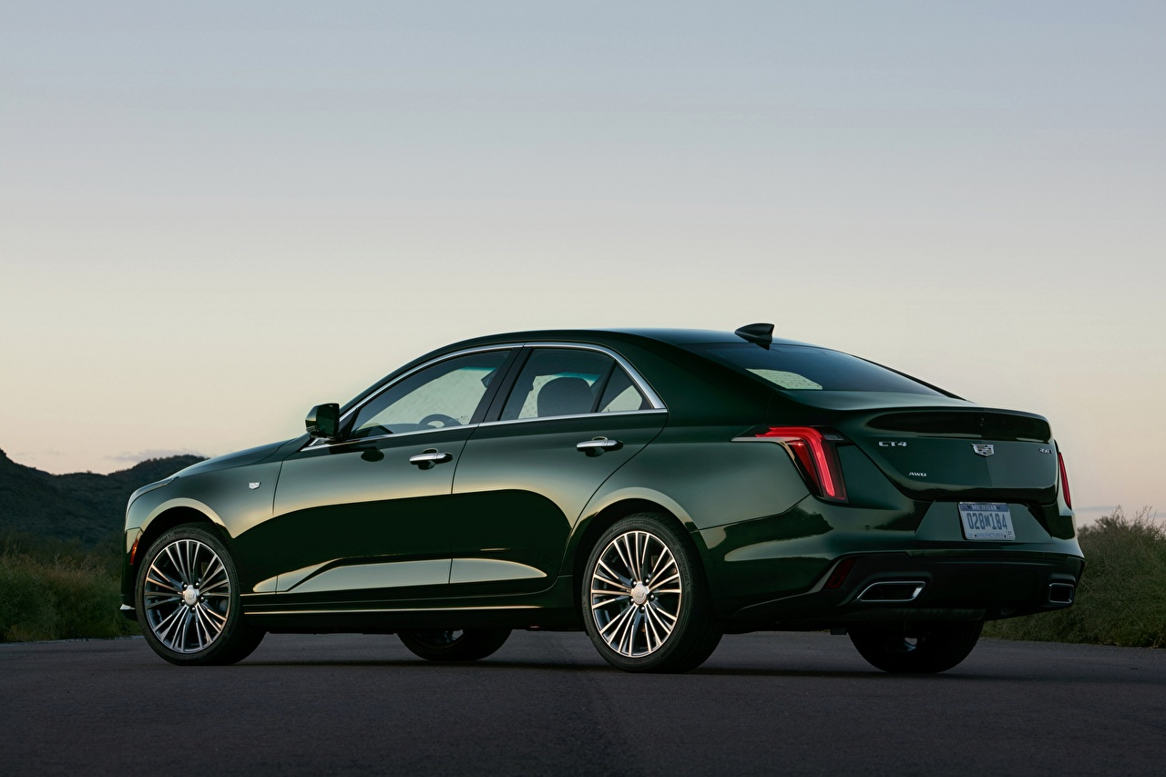 Pictures Cadillac CT4, 2020 Sedan Green Side auto Metallic Cars automobile