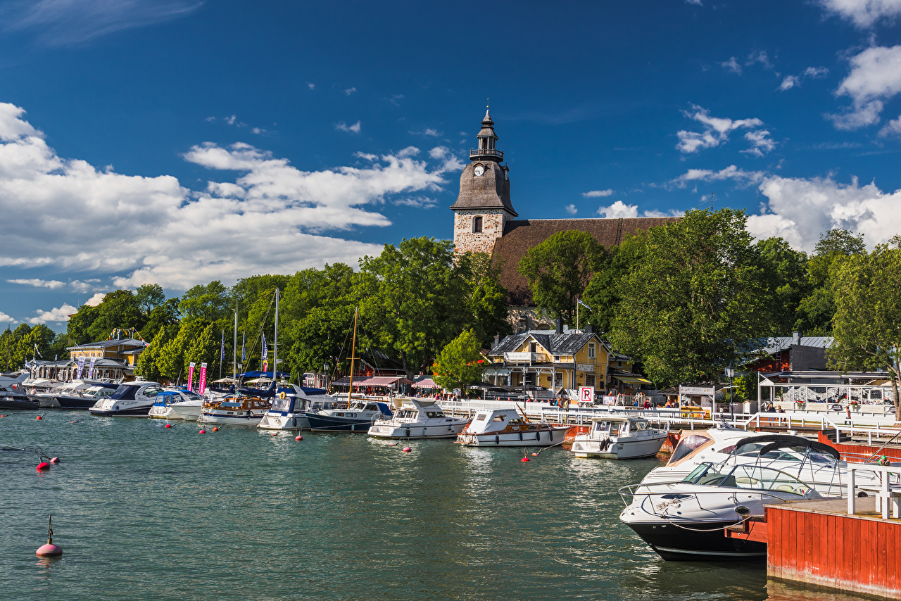 Photos Finland Naantali Church and Harbour Marinas speedboat Cities Building Pier Berth powerboat Motorboat Houses