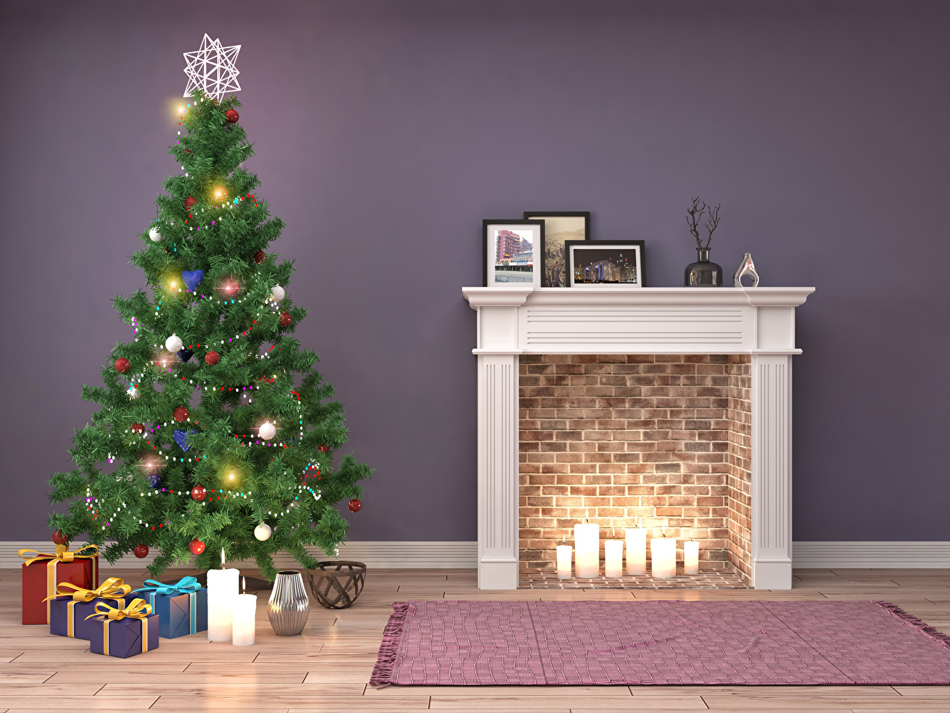 Photos Christmas 3D Graphics Christmas tree Gifts Candles Fairy lights Holidays New year New Year tree present
