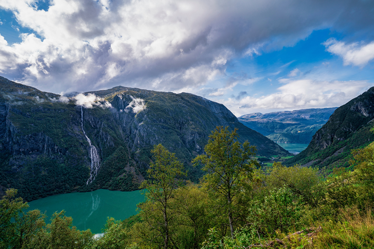 Pictures Norway Folgefonna National Park Nature Mountains park Trees Clouds mountain Parks
