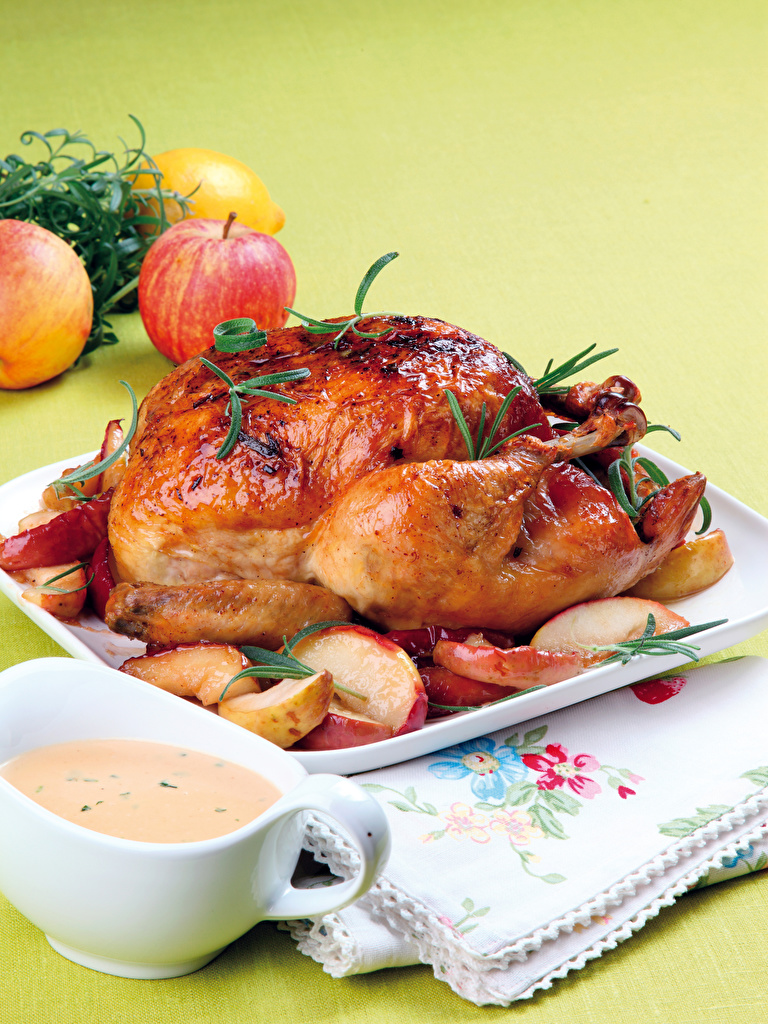 Images Apples Roast Chicken Food  for Mobile phone