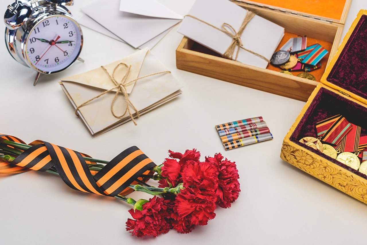 Pictures Victory Day 9 May Clock Flowers dianthus Alarm clock Holidays flower Carnations
