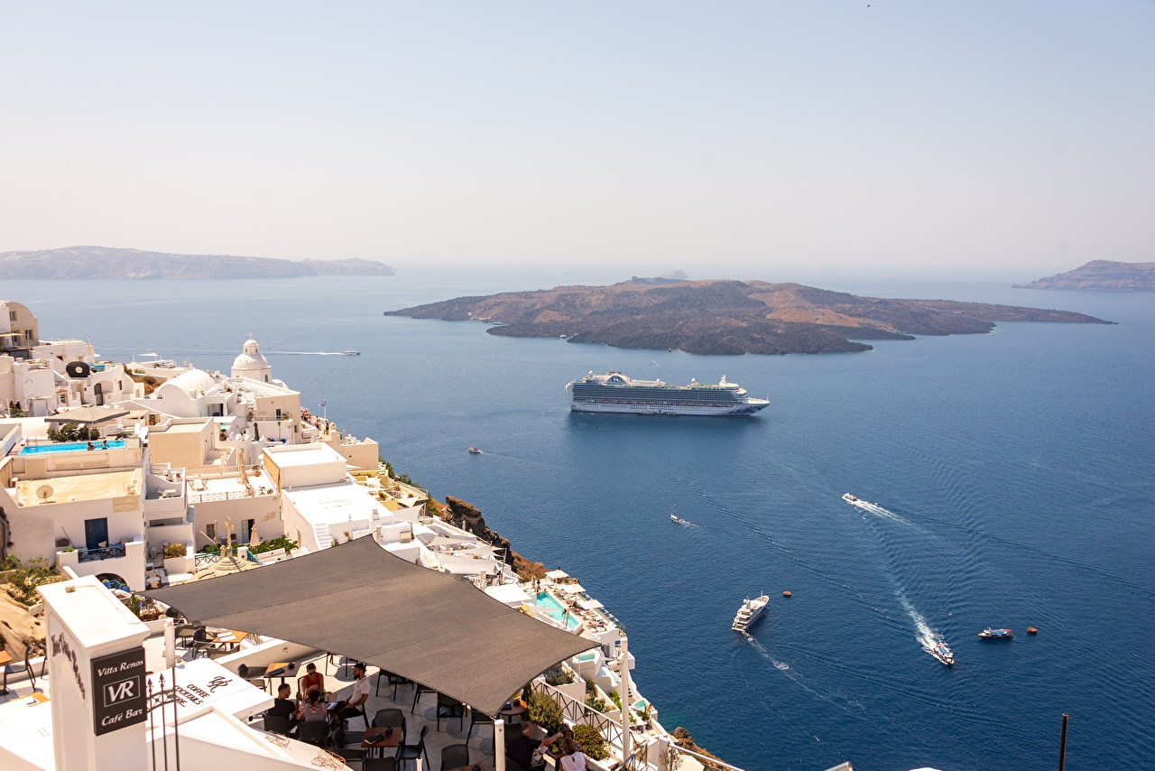 Photo Greece Cruise liner Santorini, Aegean sea Sea Nature Island From above