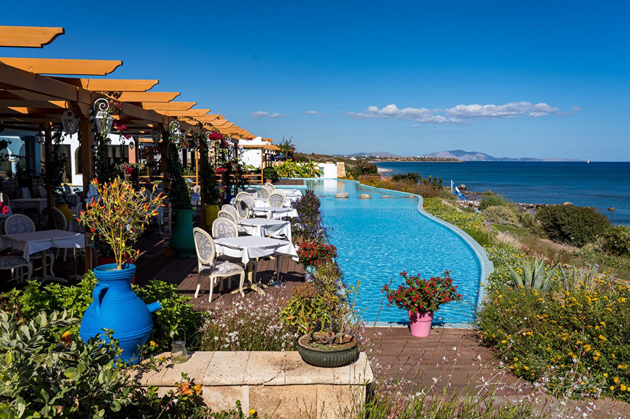 Image Greece Swimming bath Lachania Sea Nature Sky Coast Pools
