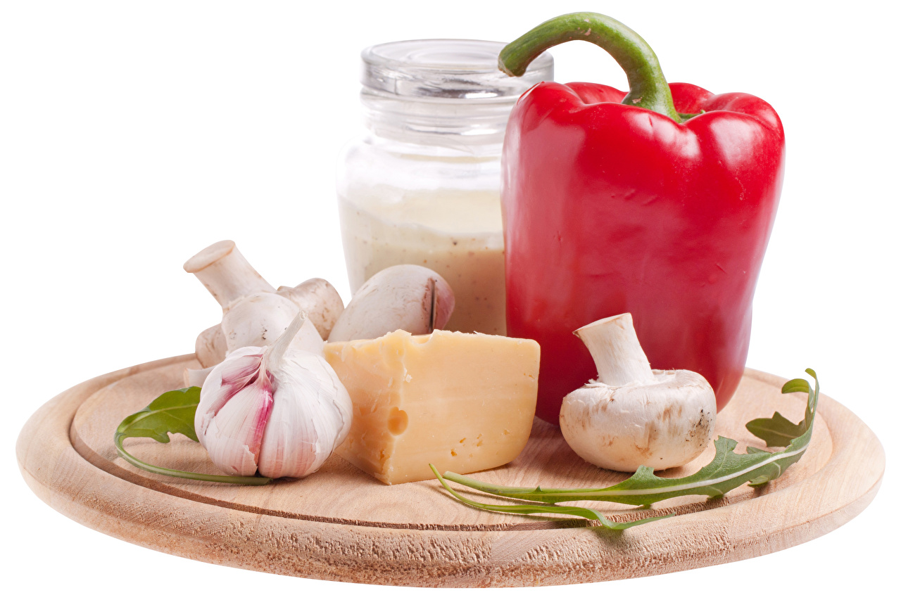 Achtergronden bureaublad kazen Knoflook Mason jar Paddestoelen Paprika Voedsel Witte achtergrond Kaas spijs