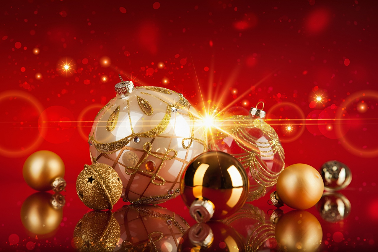 Pictures Christmas Gold color Balls Holidays New year