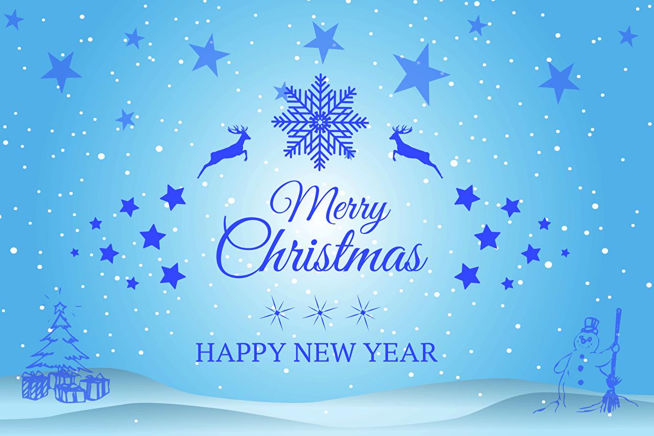 Фото Олени Рождество Звездочки Английский Снежинки Снеговики Слово - Надпись Новый год английская инглийские снежинка слова текст снеговик снеговика