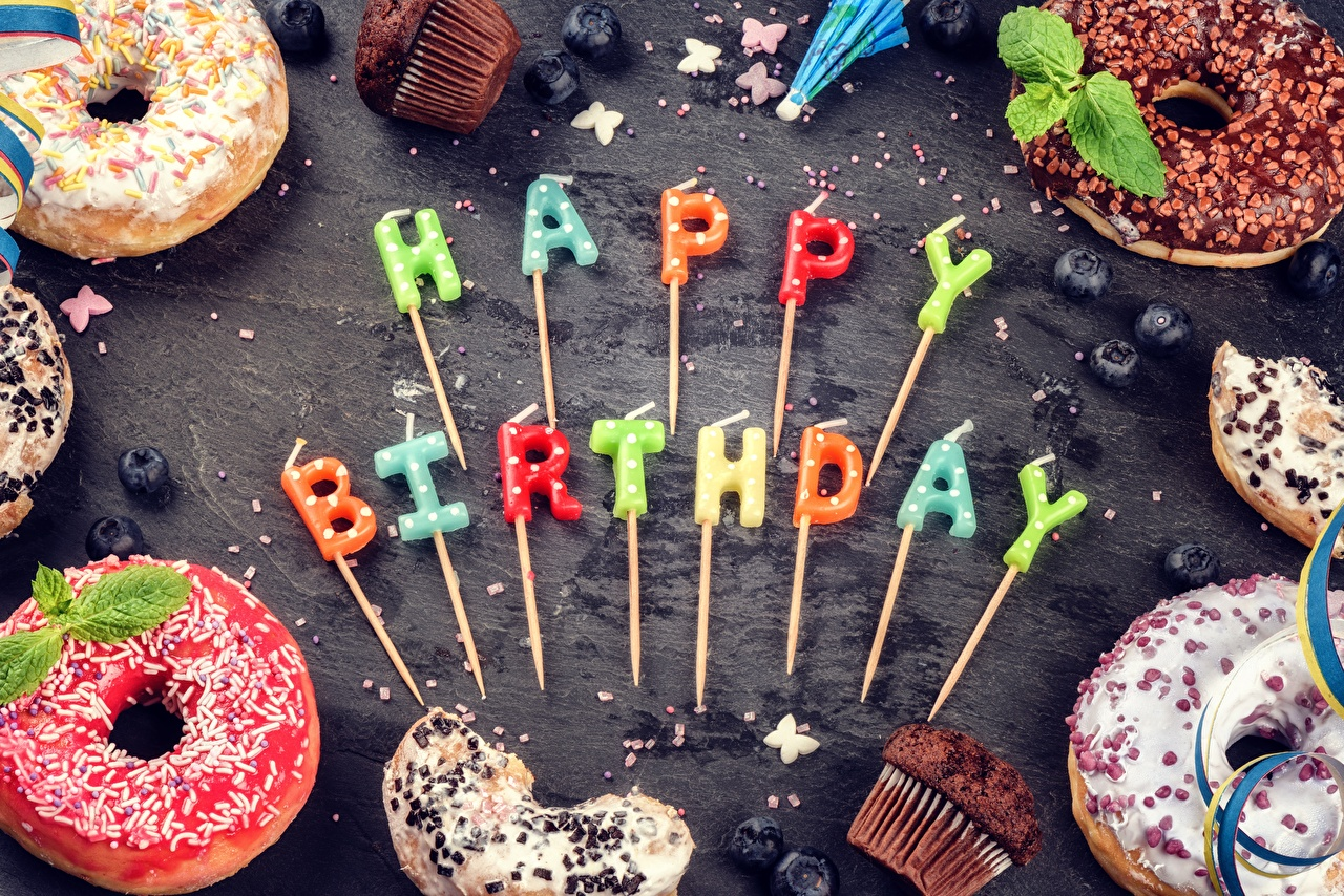 Photo Birthday English Donuts Word - Lettering Food Candles Doughnut text lettering