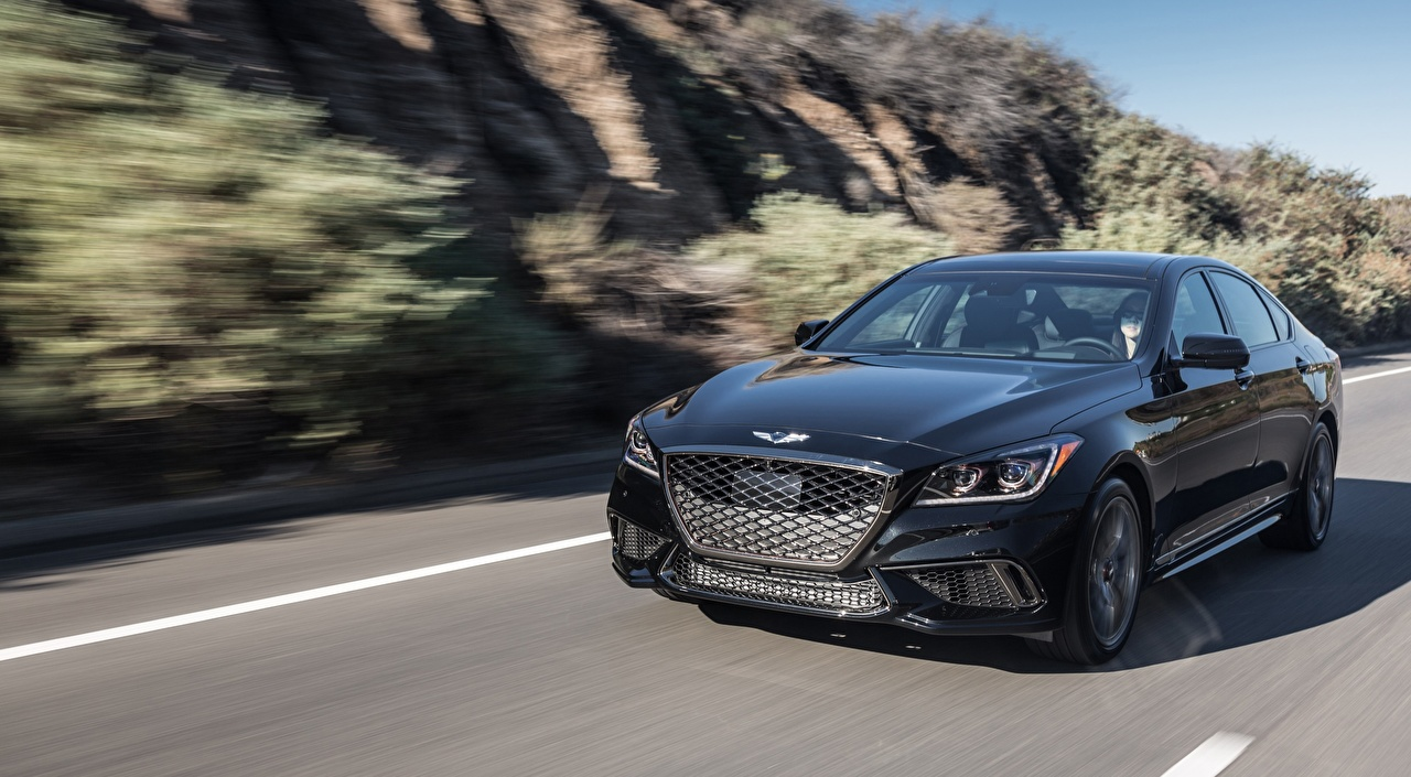 Image Hyundai blurred background Sedan Black riding Cars Front Metallic Bokeh moving Motion driving at speed auto automobile
