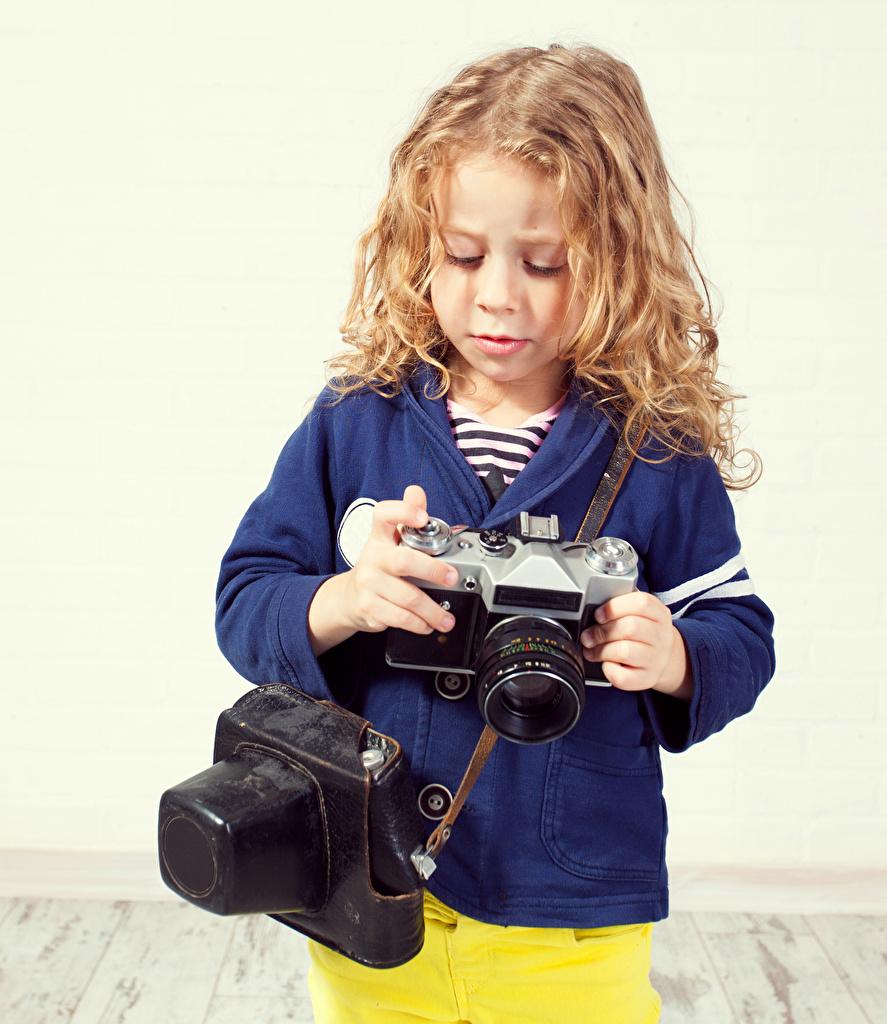 Bilder Kleine Mädchen Fotoapparat Kinder