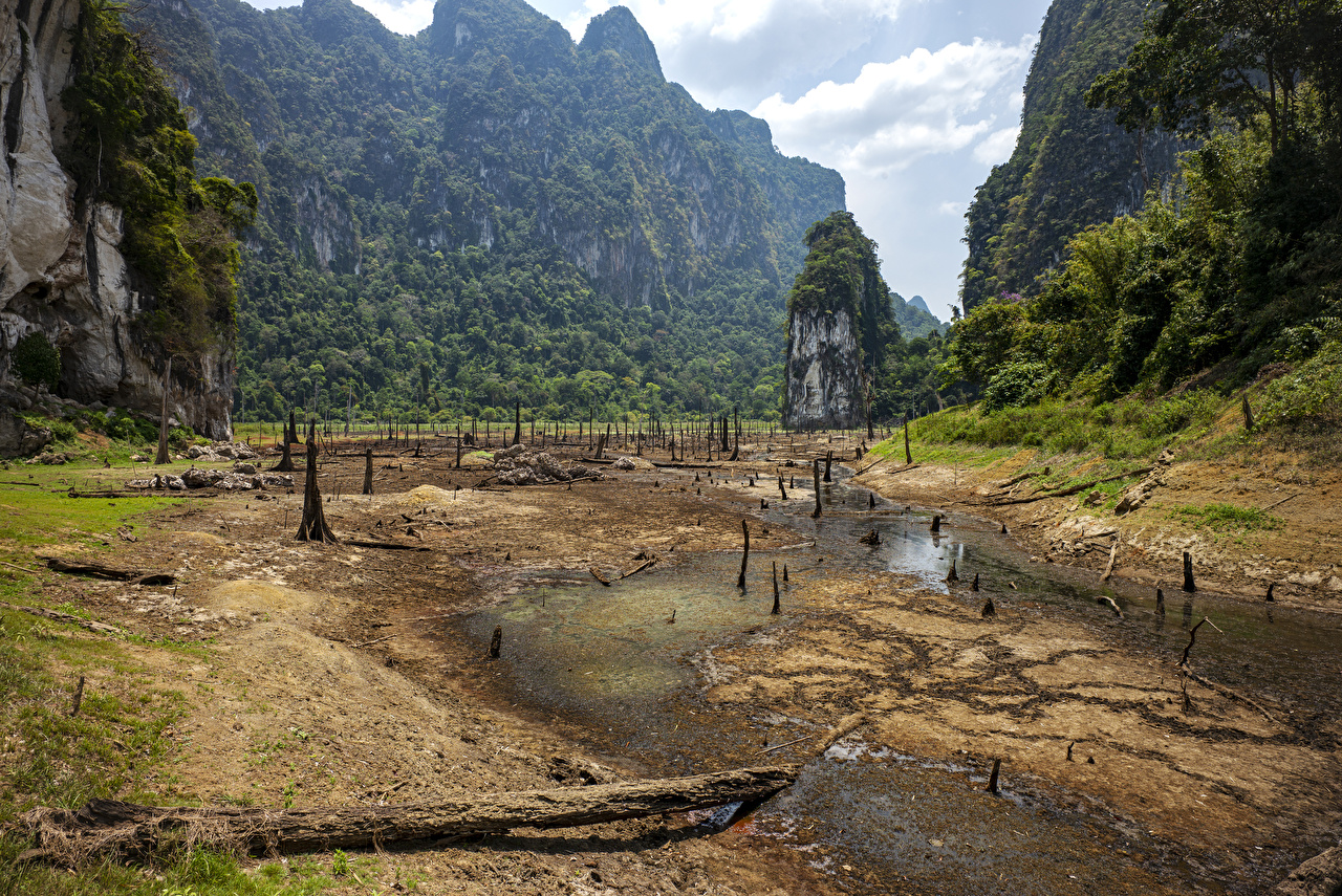 Wallpaper Thailand Cheow Lan Lake Khao Sok National Park Cliff Nature Sand Parks Moss Crag Rock park