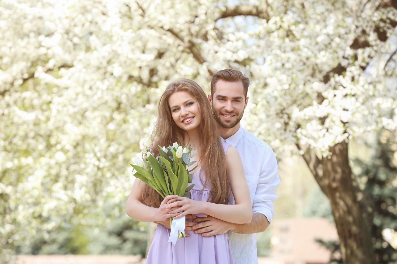 Bilder Valentinstag Dunkelbraun Mann Lächeln Zwei Liebe Tulpen Mädchens 2