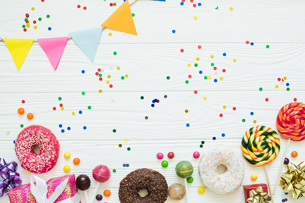Pictures Confetti Donuts Food Template greeting card Holidays Doughnut