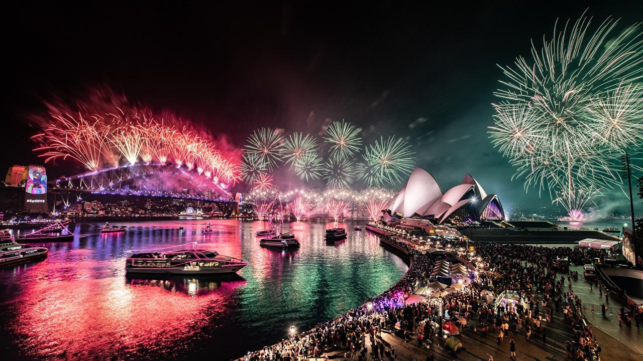 Desktop Wallpapers Sydney Fireworks Australia Bridges Bay Night Cities bridge night time