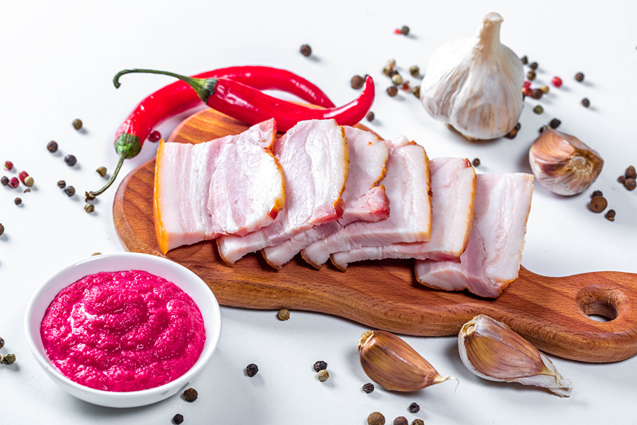 Picture Pork Salo - Food Chili pepper Black pepper Allium sativum Food Sliced food Cutting board White background Garlic
