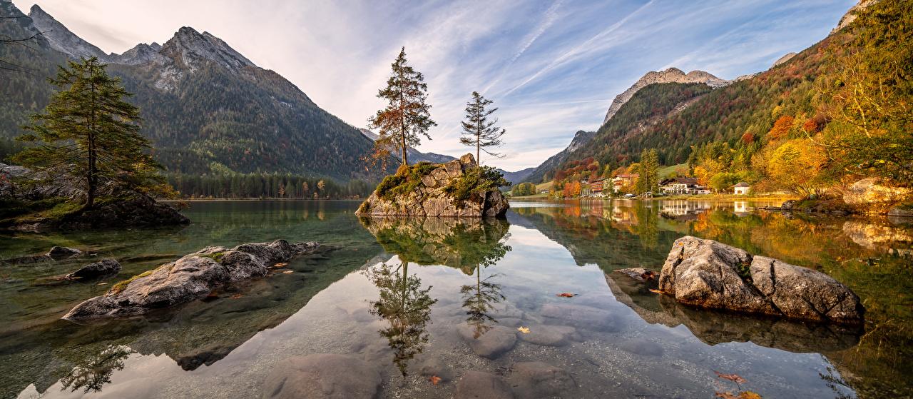 Pictures Nature panoramic Germany Bavaria Alps Autumn mountain Lake Stones Panorama Mountains stone