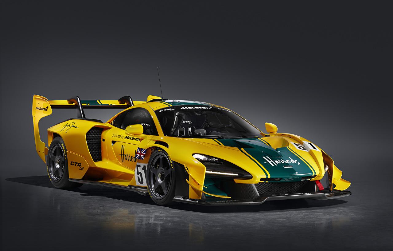 Tapeta Tuning McLaren 2020 Senna GTR LM 825-6 Harrods car Żółty samochód na szarym tle Samochody Szare tło