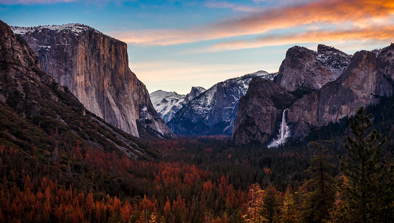 Foto Yosemite Vereinigte Staaten Natur Herbst Gebirge Wasserfall Park Wälder USA