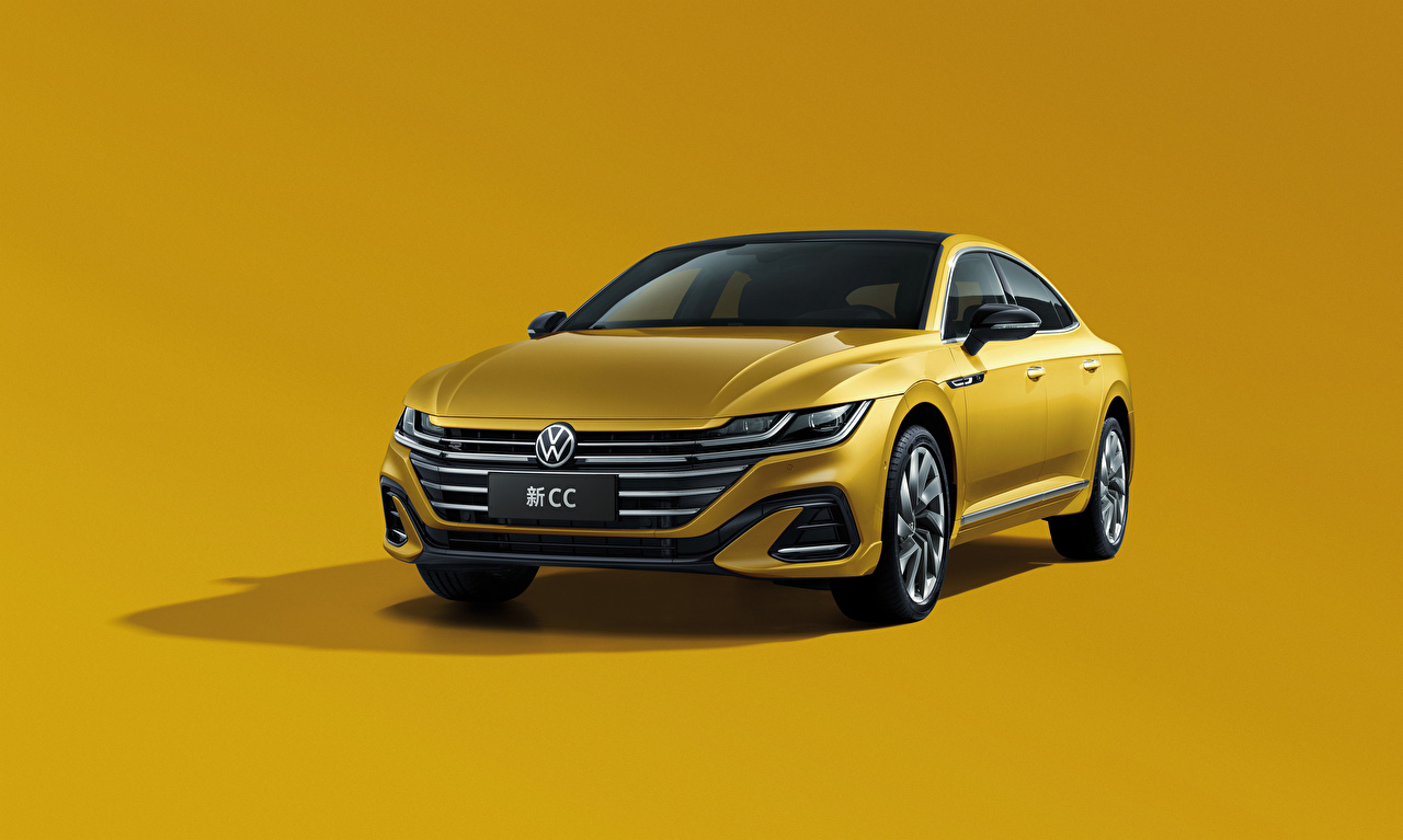 Images Volkswagen CC 380 TSI R-Line, China, 2020 Yellow Cars Metallic Colored background auto automobile