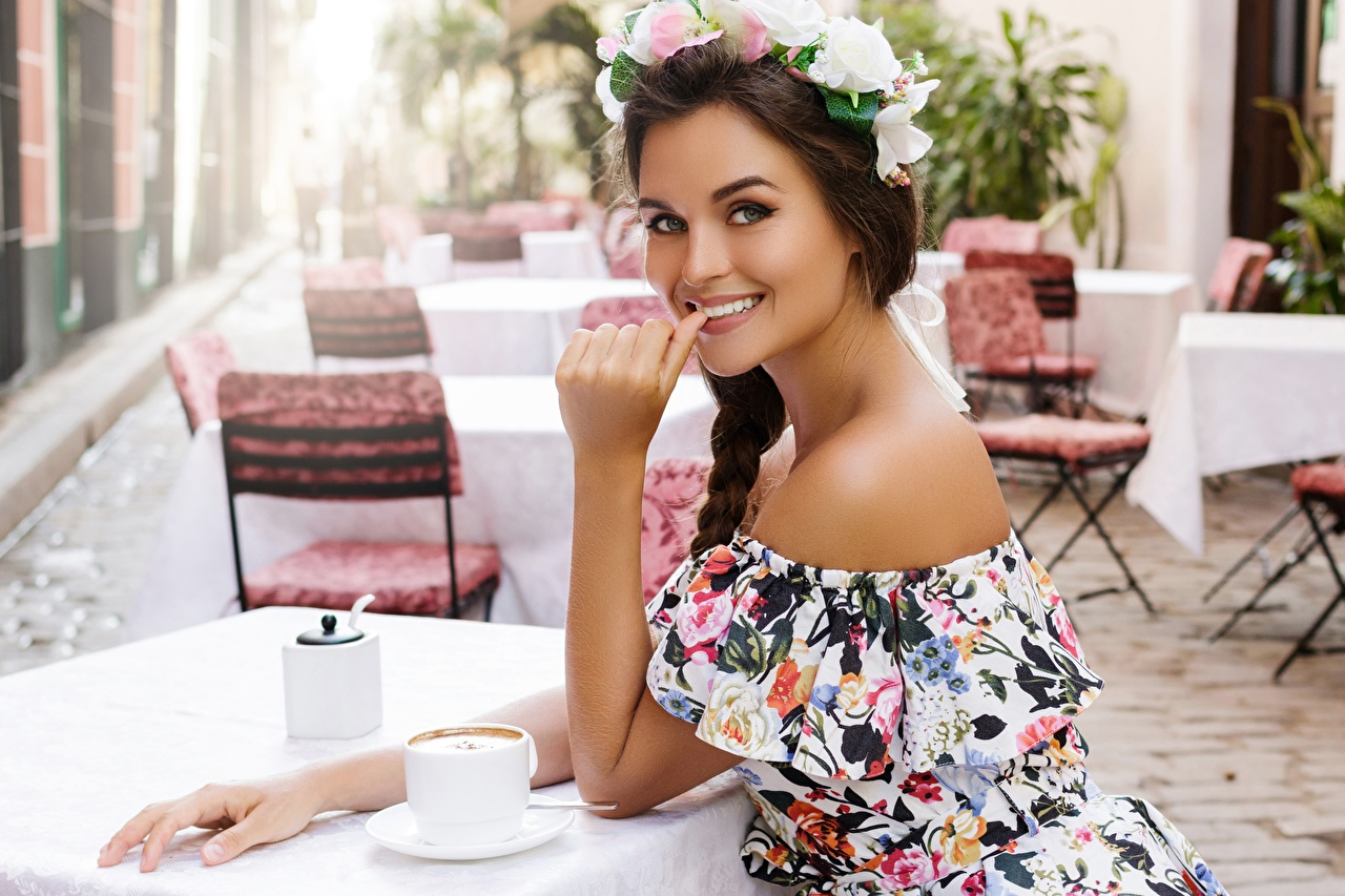 Image Smile Cafe Girls Wreath Table Hands Glance female young woman Staring