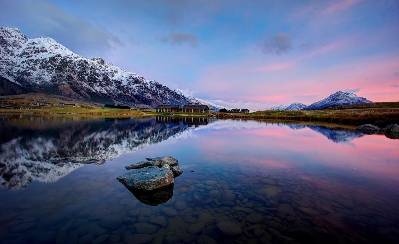 、風景写真、山、水、ニュージーランド、湖、空、Wakatipu Jacks Point Queenstown、、自然、