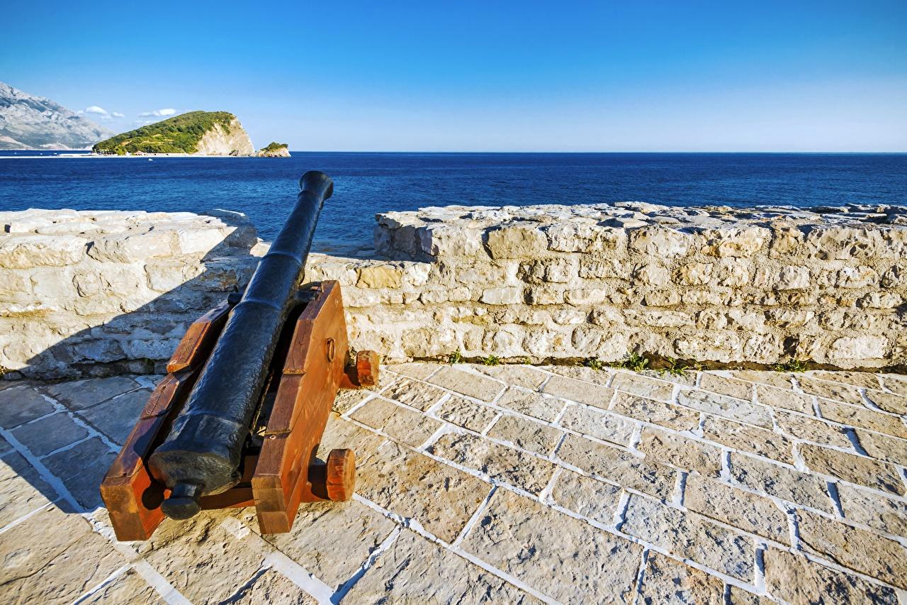、カノン砲、要塞、モンテネグロ、Budva、、陸軍、