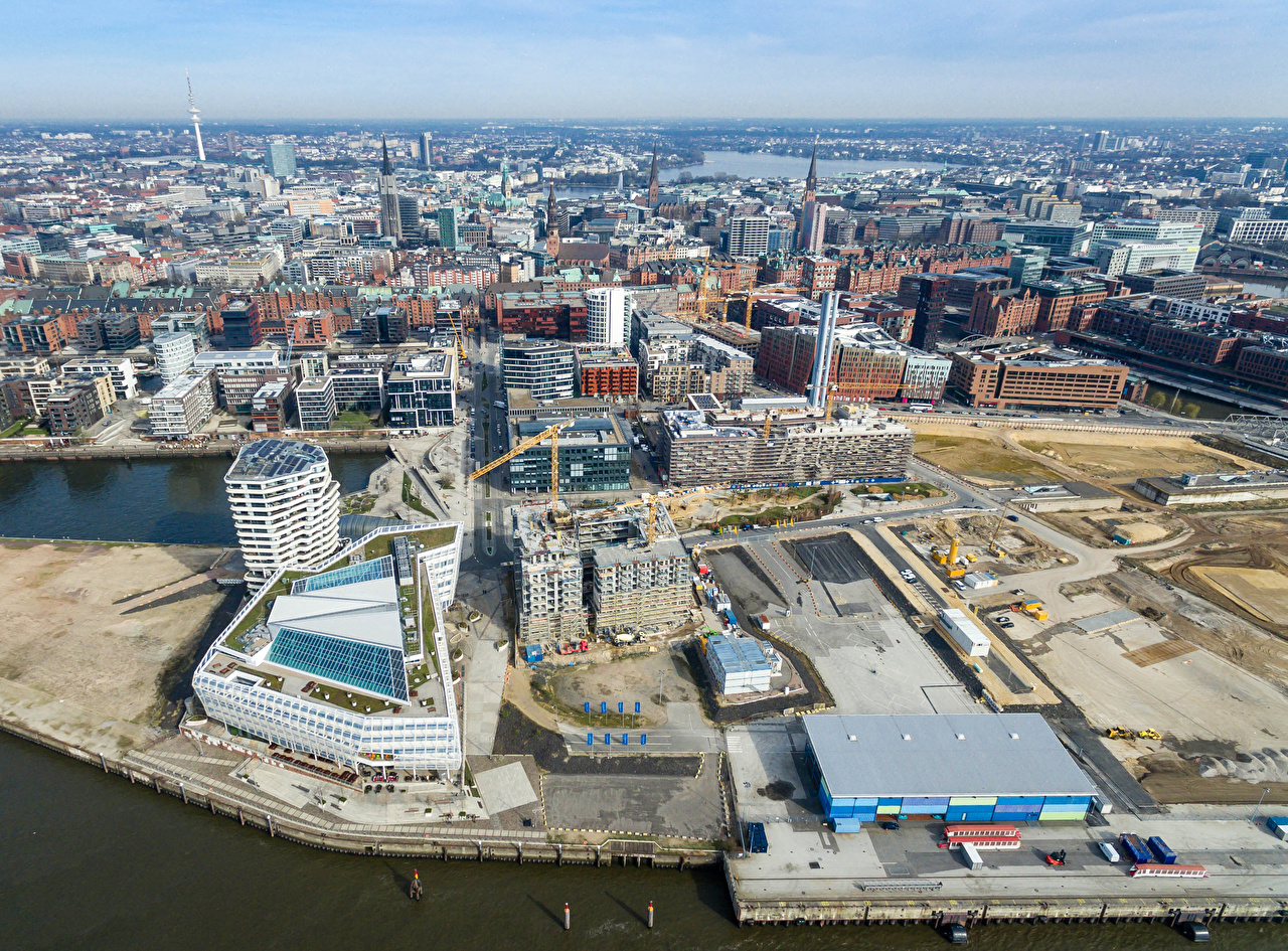 Picture Hamburg Germany Berth From above Cities Building Pier Marinas Houses