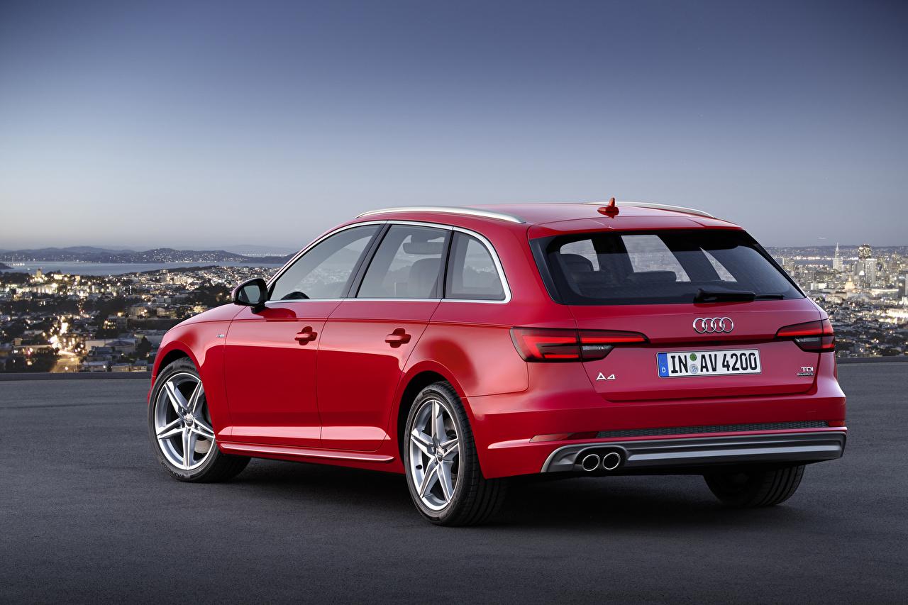 Images Audi Estate car TDI quattro Avant, 2015 S line Red Metallic Back view automobile Station wagon Cars auto
