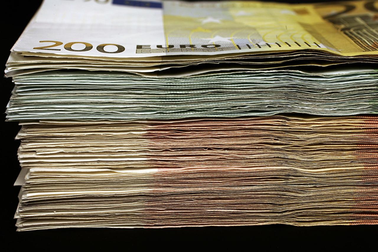 Photos Euro Banknotes Money Closeup Paper money